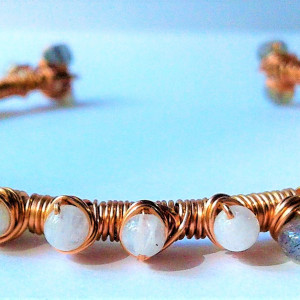 ACJ Nested Moonstone & Labradorite bangle