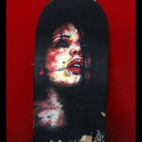 acrylic on skate deck