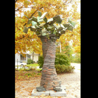 TREE OF KNOWLEDGE, c 1992, bronze, 10ft.hi. Public Library, Yellow Springs, OH