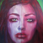 \'After\' , spraypaint and oil on 2 large wood panels