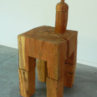 table with bottle, 2011, sculpture, 90 x 60 x 60 cms