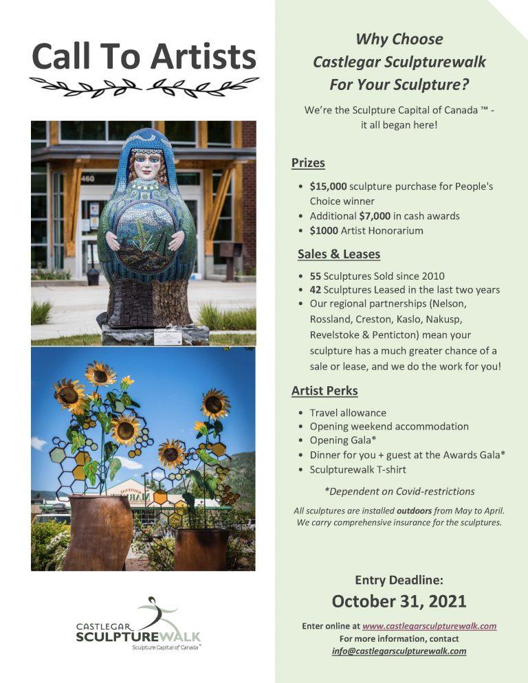 Castlegar Sculpturewalk (Castlegar, BC) – Call For Artists